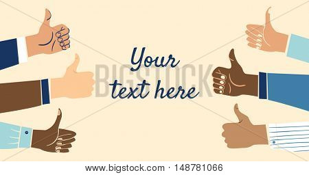 Six multiethnic, diverse business hands showing the thumbs up sign with space for your text.