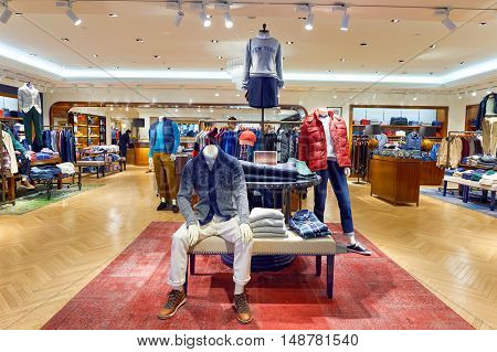 HONG KONG - CIRCA JANUARY, 2016: Tommy Hilfiger store in Hong Kong. Tommy Hilfiger is an American multinational corporation that designs and manufactures high end apparel.