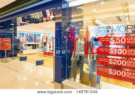 HONG KONG - CIRCA JANUARY, 2016: GAP store at shopping mall in Hong Kong. The Gap, Inc. is an American worldwide clothing and accessories retailer.