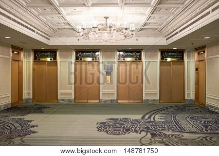CHICAGO, IL - CIRCA MARCH, 2016: inside of the Hilton Chicago. The Hilton Chicago is a large centrally-located luxury hotel in Chicago, Illinois, United States.