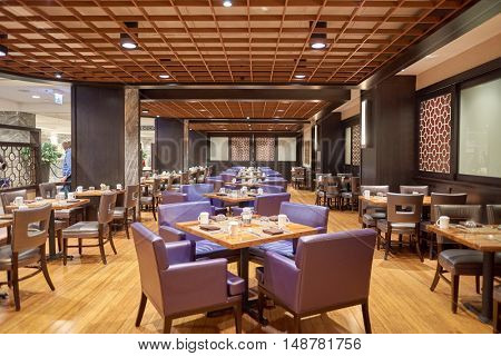 CHICAGO, IL - CIRCA MARCH, 2016: 720 South Bar & Grill at the Hilton Chicago. The Hilton Chicago is a large centrally-located luxury hotel in Chicago, Illinois, United States.