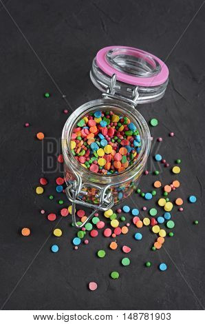 Colorful Confectionery Sprinkling In A Glass Jar