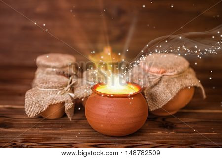 Concept Greeting Card Of Clay Pots With Mystical Miracle Light On Wooden Background, Fine Art Design