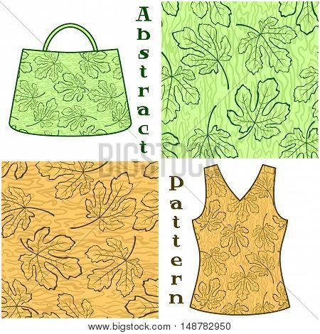 Set Seamless Patterns, Contours Fig Tree Leaves and Abstract Background, Elements for Your Design, Prints and Banners, For the Example Presented in a Female Top and a Bag. Vector