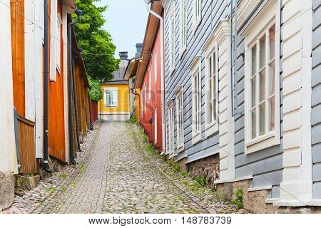 Wooden Houses In Old Town Of Porvoo, Finland