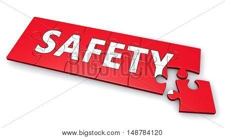Safety sign puzzle development concept 3d illustration.