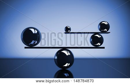Balance the perfect system lifestyle and business concept with balanced balls of different sizes 3D illustration.
