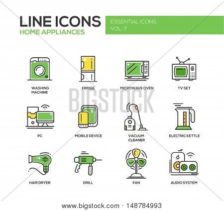 Home Appliances - modern vector line design icons and pictograms set. Washing machine, fridge, microwave oven, tv set, pc, mobile device, vacuum cleaner, electric kettle, hair dryer, drill, fan, audio system