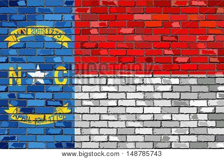 Flag of North Carolina on a brick wall - Illustration,  The flag of the state of North Carolina on brick textured background,  North Carolina flag in brick style