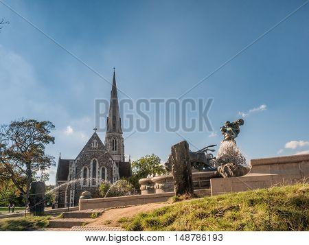 English church (Church of Saint Alban) and fountain in Copenhagen Denmark