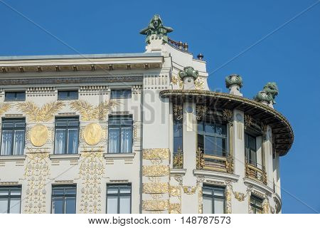 Architecture Otto Wagner house at Wienzeile 38 in Vienna with decoration from Koloman Moser poster