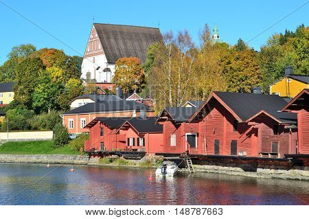 Finland . Beautiful town of Porvoo in a sunny autumn day