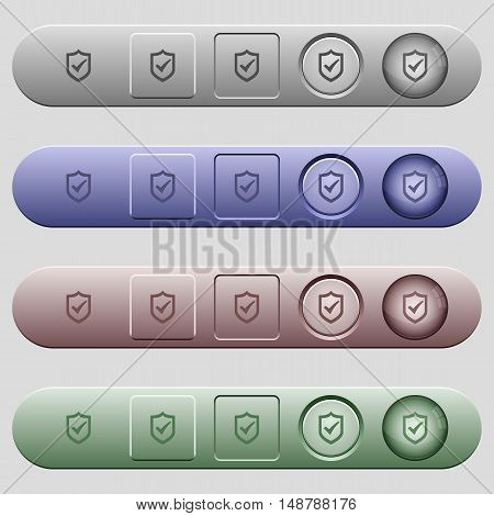 Active shield icons on rounded horizontal menu bars in different colors and button styles