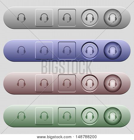 Headset icons on rounded horizontal menu bars in different colors and button styles