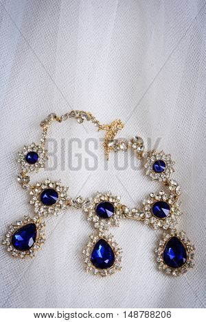 top view antique sapphire diamond necklace on tulle