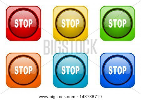 stop colorful web icons