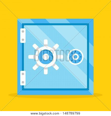 Vector safe. Cartoon metal safe deposit box. Money protection. Shiny blue safe flat design illustration