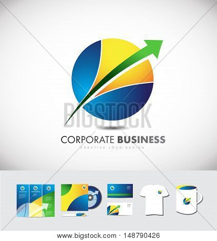 Circle sphere arrow corporate business vector logo icon design identity set cd brochure card t shirt cup