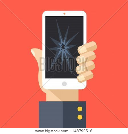 Hand holding smartphone with cracked screen. Modern white cell phone with broken glass, damaged display. Flat design vector illustration