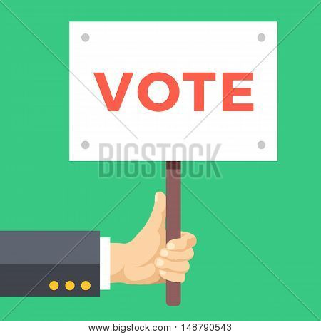 Hand holding vote sign board. Wooden placard with vote word written on it. Elections, voting concepts. Modern flat design vector illustration isolated on green background