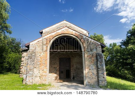 The archeological area of Castelseprio (Varese Lombardy Italy): ruins of a village destroyed in the 13th century. Unesco World Heritage Site. The church