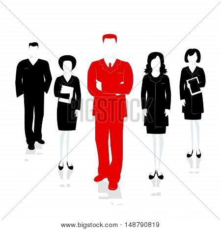Team leader man. Successful team headed by the leader . Vector illustration
