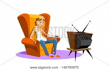 man sitting on an armchair and watching TV. vector illustration