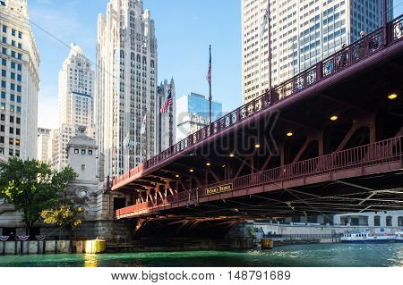 The iconic DuSable bridge and Michigan Ave in Chicago, Illinois, USA on a hot summer's day
