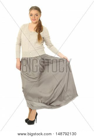Studio Shot Of A Large Woman In Gray Skirt Isolated
