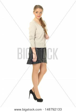 Studio Shot Of A Large Woman In Black Skirt Isolated
