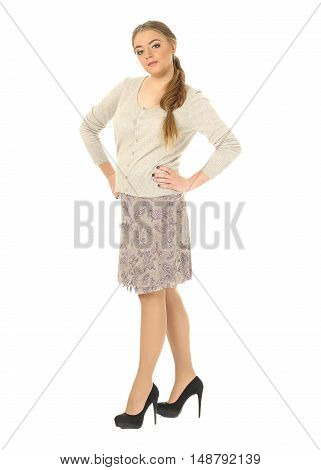 Studio Shot Of A Large Woman In Skirt Isolated