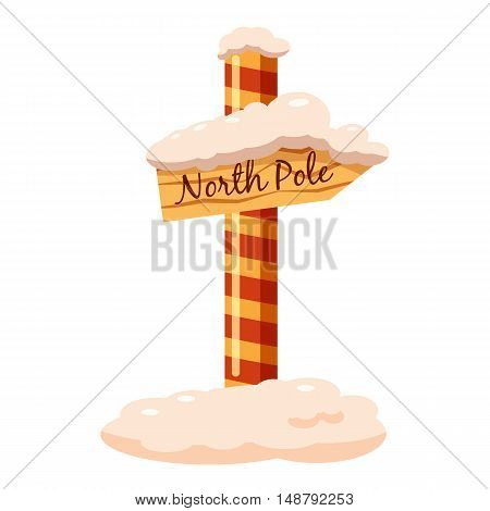 North Pole sign icon in cartoon style isolated on white background vector illustration