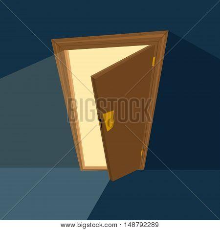 ajar door on dark blue background. Flat illustration. Vector illustration