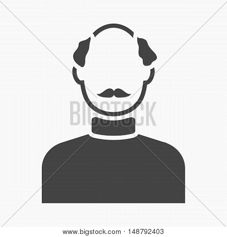 Bald head icon black. Single avatar, peaople icon from the big avatar simple.