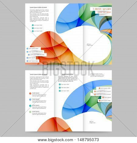 Color tri fold business brochure with abstract lines and waves