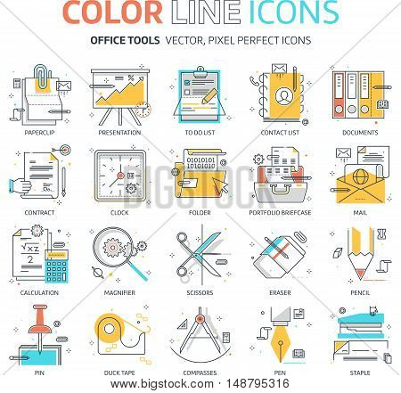 Color line office tools illustrations icons backgrounds and graphics. The illustration is colorful flat vector pixel perfect suitable for web and print. It is linear stokes and fills.