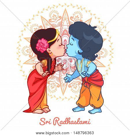 Little cartoon Krishna kissing Radha. Greeting card for Sri Radhastami. Vector cartoon illustration on a yellow spotted background.