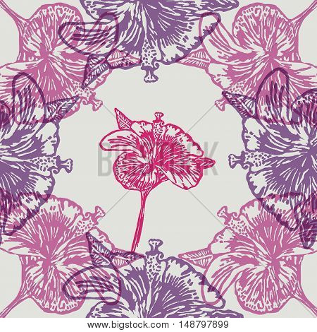 Linocut Hibiscus Flower on background. Vector Illustrated frame from Hibiscus Flowers.