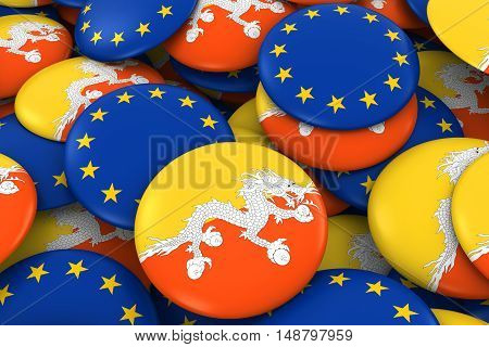 Bhutan And Europe Badges Background - Pile Of Bhutanese And European Flag Buttons 3D Illustration
