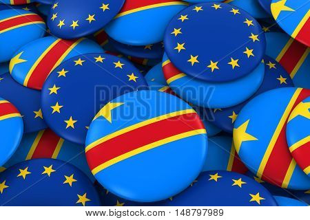 Dr Congo And Europe Badges Background - Pile Of Congolese And European Flag Buttons 3D Illustration