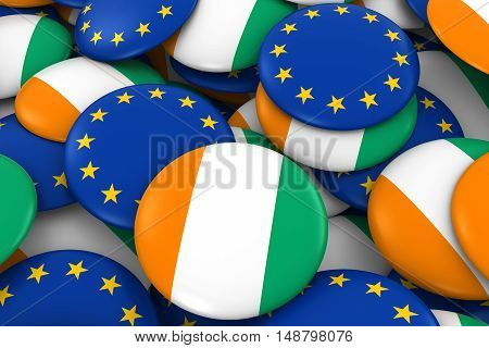 Cote D'ivoire And Europe Badges Background - Pile Of Ivorian And European Flag Buttons 3D Illustrati