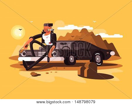 Tough man near car with bottle and gun in desert. Vector illustration