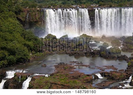 Iguazu National Park waterfall Iguassu river tropical rainfores Brazil Argentina