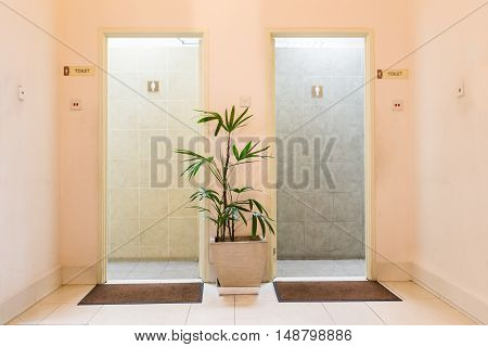 Entrances to men and ladies washroom toilet