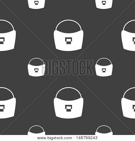 Woman Hand Bag Icon Sign. Seamless Pattern On A Gray Background. Vector