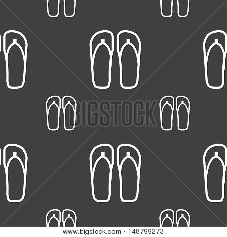 Flip-flops. Beach Shoes. Sand Sandals Icon Sign. Seamless Pattern On A Gray Background. Vector