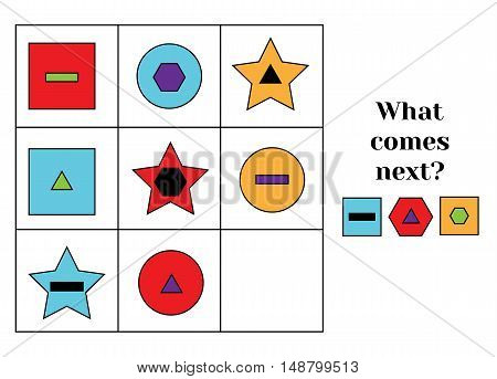 What comes next educational children game. Kids activity sheet, training logic, continue the row task. Learning shapes and colors
