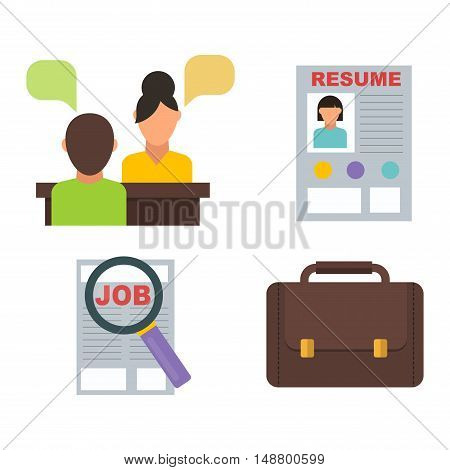 Vector job search icon set computer office concept. Human recruitment employment work job search icons team meeting manager. Job search icons interview employee resources career strategy set.