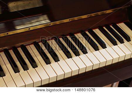 Piano Keys. Close Up View.