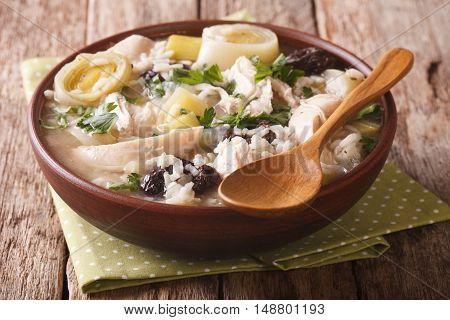 Tasty Scottish Chicken Soup With Leeks And Prunes Close Up In A Bowl. Horizontal
